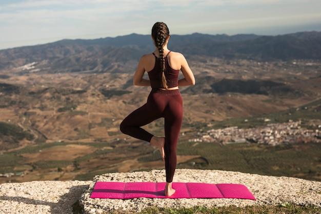 De jonge vrouw in yoga stelt met rug