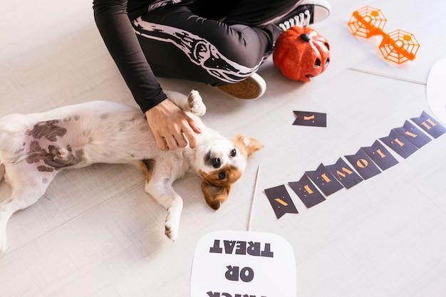 De jonge vrouw maakt halloween-slinger. creatieve diy. home decor project party. halloween ambachten inspiratie. cuet kleine hond bovendien
