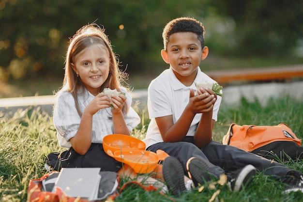 De jongen en het meisje van gemengde rassen in park