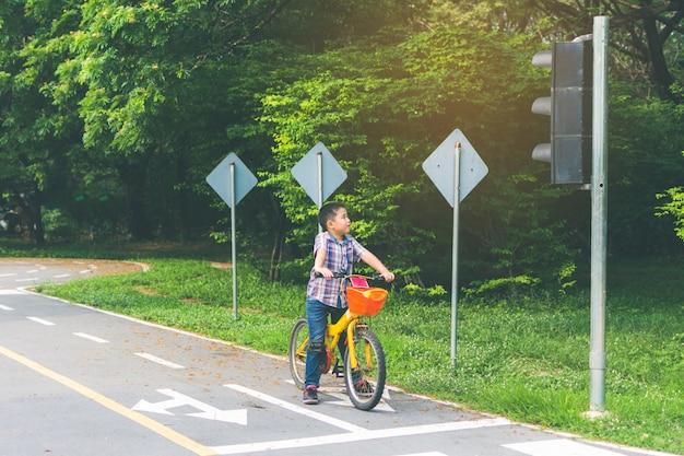De jongen fietst in het park, de fiets stopt bij de verkeerslichten