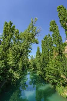 De jucar-rivier terwijl deze door de stad cuenca in castilla la mancha spanje stroomt, stroomt op een zonnige dag met groen water omringd door bomen langs de rivier