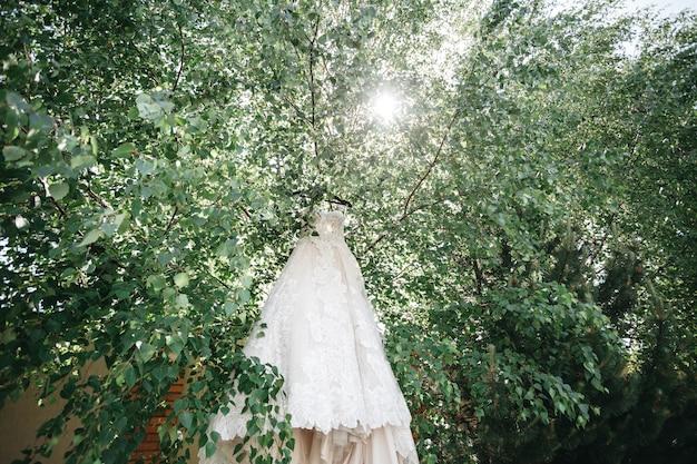 De jurk van de bruid hangt aan de bomen in de stralen van de zon