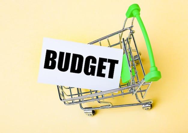 De kaart met het woord budget ligt in de winkelwagen. marketing concept