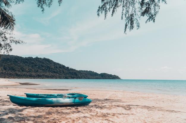 De kajak en kano op het strand.