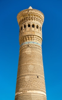 De kalyan-minaret in bukhara, oezbekistan. centraal-azië