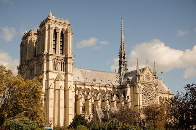De kathedraal van notre dame de paris. notre dame de paris is de beroemde middeleeuwse katholieke kathedraal