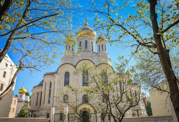 De kerk met gouden koepels in de zon tussen de bomen het uitzicht op de tempel vanuit het park door de takken van de bomen