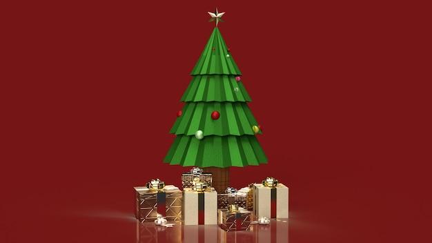 De kerstboom en geschenkdozen voor vakantie-inhoud
