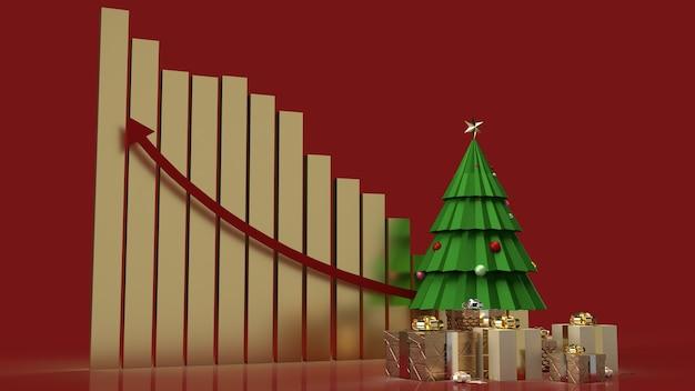 De kerstboom geschenkdozen en grafiek pijl omhoog voor marketinginhoud voor de feestdagen
