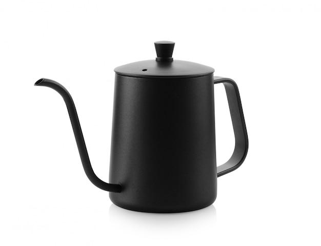 De ketel van de koffiedruppel op witte achtergrond