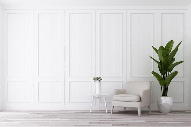 De klassieke muur verfraait en de leunstoel met bijzettafel op houten 3d vloer geeft terug