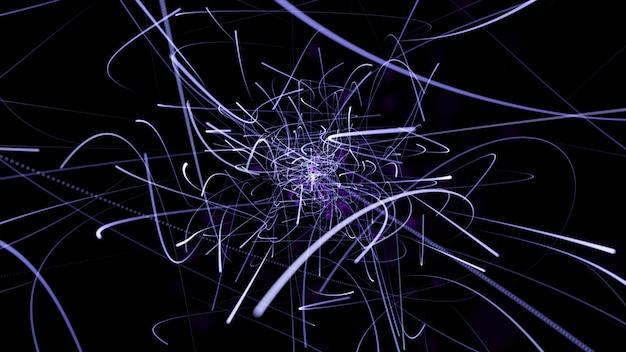De kleur van de abstracte paarse lijn op een zwarte achtergrond