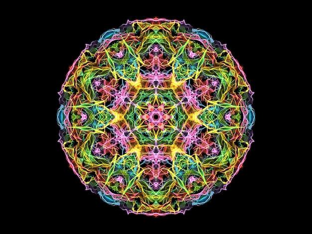 De kleurrijke abstracte bloem van de vlammandala, neon sier bloemen rond patroon