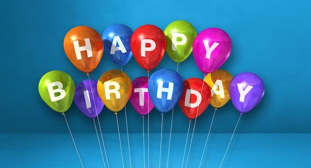 De kleurrijke gelukkige ballons van de verjaardagslucht op een blauwe scène als achtergrond. horizontale banner. 3d illustratie renderen