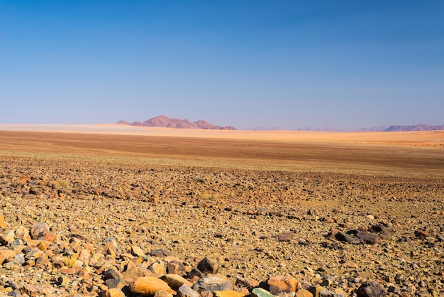 De kleurrijke namib-woestijn, roadtrip in het prachtige namib naukluft national park, reisbestemming en hoogtepunt in namibië, afrika.
