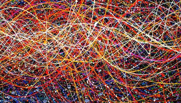 De kleurrijke samenvatting en de textuur van het lijnenolieverfschilderij.