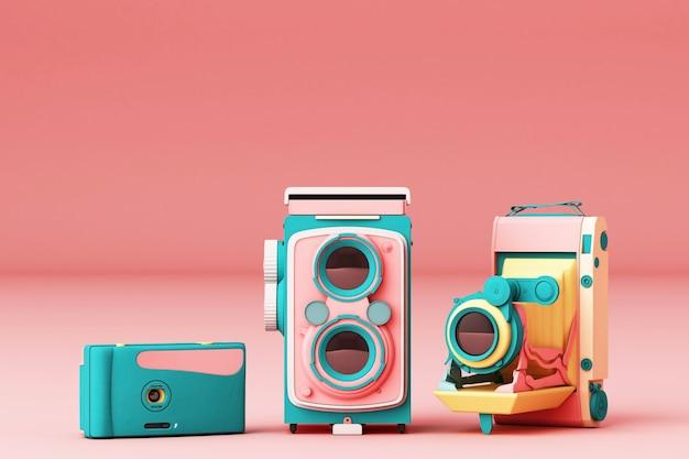 De kleurrijke uitstekende camera op een roze 3d achtergrond geeft terug