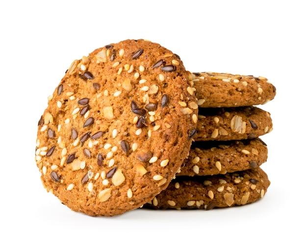 De koekjes met zaden sluiten omhoog geïsoleerd