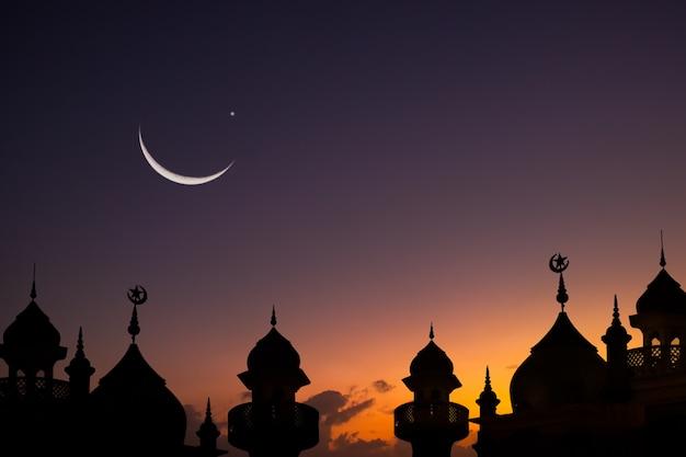 De koepel van silhouetmoskeeën op schemeringhemel en toenemende maan