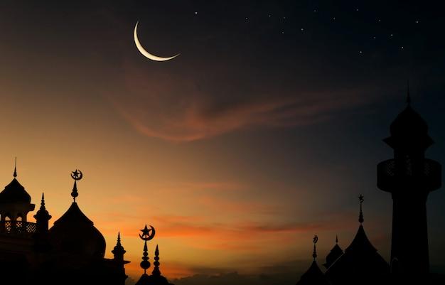 De koepelmoskeeën van het silhouet op schemerhemel en toenemende maan