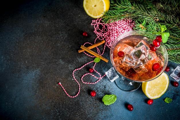 De koude zure zoete cocktail van de kerstmis amerikaanse veenbes