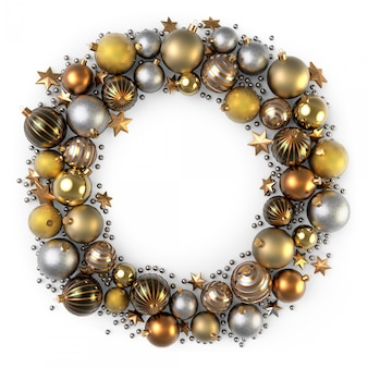 De kroondecoratie van kerstmis van gouden kleurenbellen