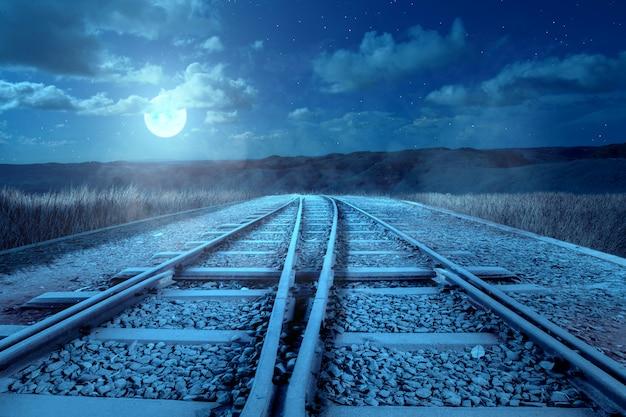 De kruising van een spoorwegspoor op de heuvels