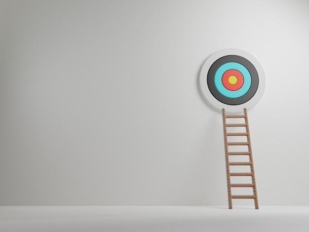 De ladder leunde naar de muur waarop het doelwit was opgehangen met kopieerruimte, zakelijke prestatie en objectief doelconcept door 3d rendertechniek.