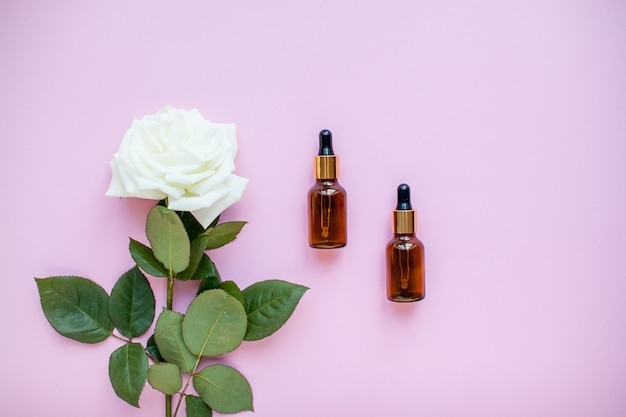 De lay-out van delicate rozen en cosmetische flessenserum op een roze achtergrond