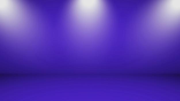 De lege achtergrond van de ruimtestudio met blauwe hierboven muren en lichten van