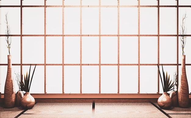 De lege achtergrond van het scènevenster op ruimte oude stijl, met de houten decoratie van de installatiesvaas op de vloer van de tatamimat het 3d teruggeven
