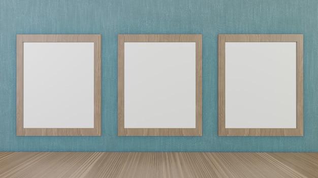 De lege afbeeldingsframes op groen behang voor achtergrond 3d-rendering