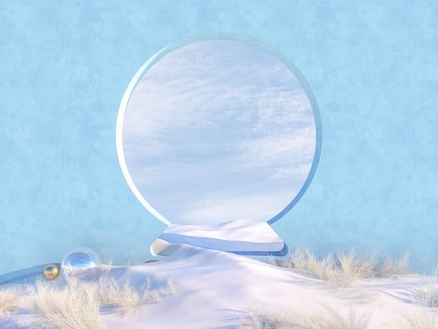 De lege scène van kerstmis van de winter met frame van de sneeuwbolvorm.