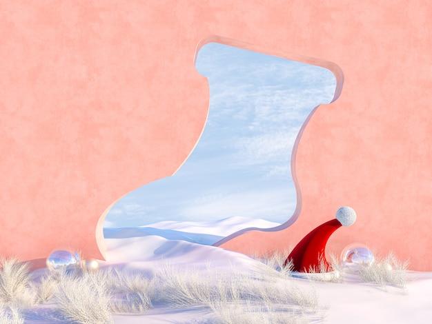 De lege scène van kerstmis van de winter met frame van de sokvorm.