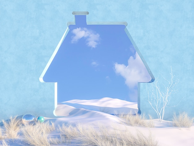 De lege scène van kerstmis van de winter met het frame van de huisvorm.