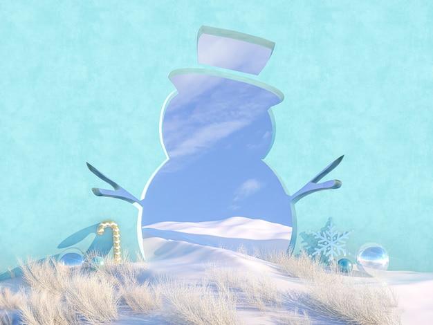 De lege scène van kerstmis van de winter met het frame van de sneeuwmanvorm.