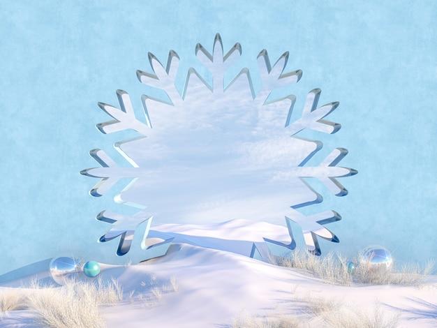 De lege scène van kerstmis van de winter met het frame van de sneeuwvlokvorm.
