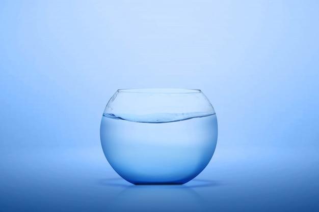 De lege vissenkom van glas