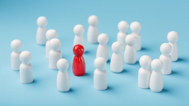 De leider in het rood leidt een groep blanke medewerkers naar overwinning, hr, personeelswerving. het concept van leiderschap.