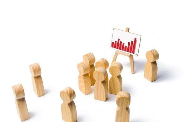 De leider staat in de buurt van een standaard met grafiek