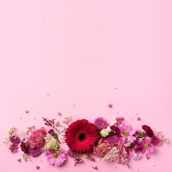 De lentesamenstelling van roze bloemen op punchy pastelkleurachtergrond.