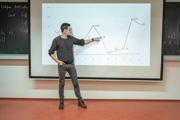 De leraar toont de grafiek op het bord tijdens het lesgeven op univezite