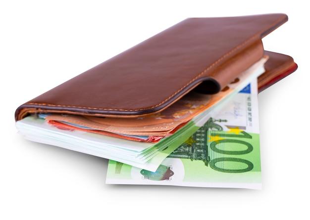 De leren portemonnee en het opnemen van europese valuta