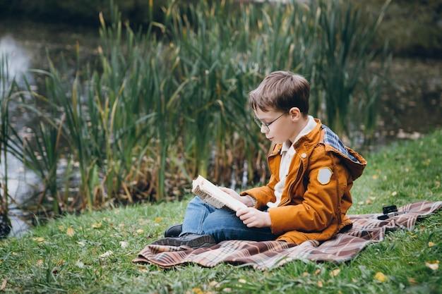 De leuke jongen loopt en stelt in een kleurrijk de herfstpark
