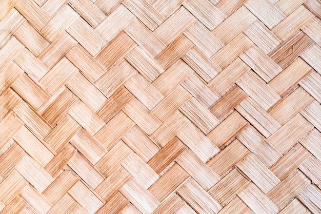 De lichtbruine geweven geweven textuur van de bamboemat voor achtergrond