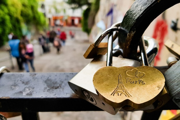 De liefde sluit hangsloten die in brug, parijs, frankrijk hangen