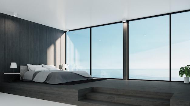 De loft en moderne slaapkamer - uitzicht op zee voor vakantie en zomer / 3d-rendering interieur