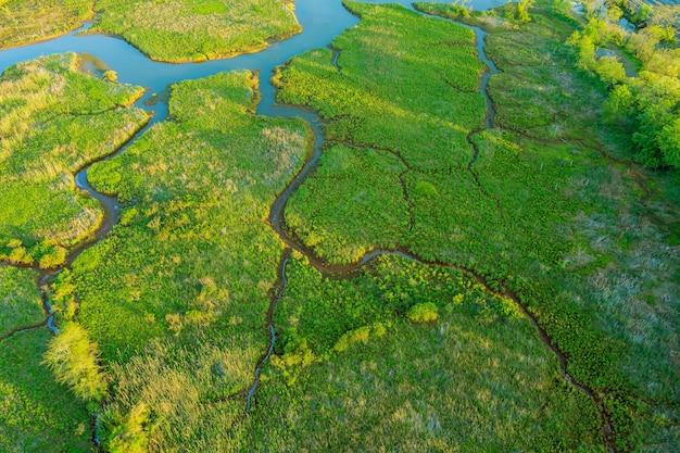 De lucht boven de samenvloeiing van de blauwe rivieren in de natuur, landschap gemengd bos
