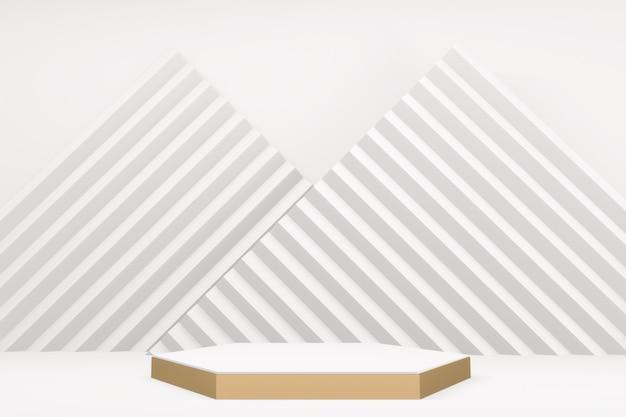 De luxe witte zeshoekige podium witte stijl. 3d-rendering