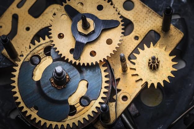 De macro-weergave van klokmechanisme